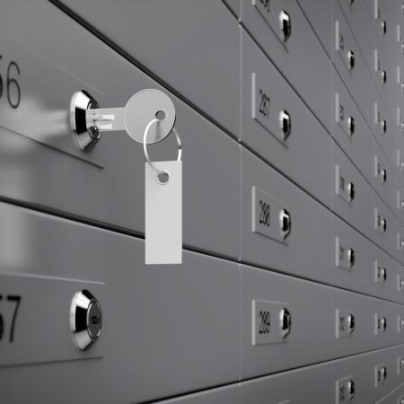 Photo pour Deposit box with key. 3d render - image libre de droit