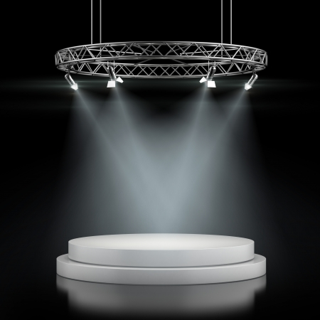 Empty stage in spot lights isolated on a black background. 3d render