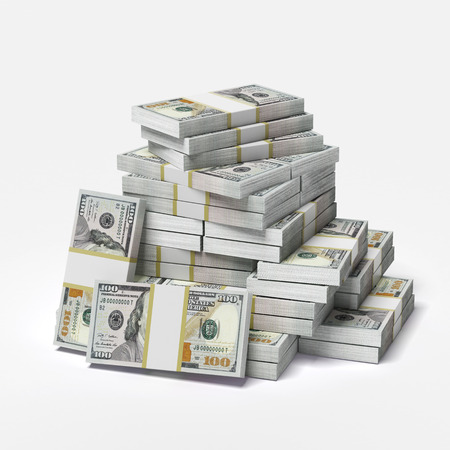 big pile of dollars isolated on a white background. 3d render