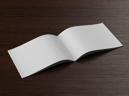 Open  brochure on a wooden table. 3d render