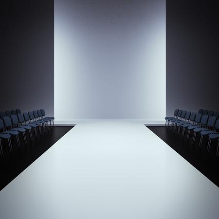 White fashion empty runway, 3d render scene