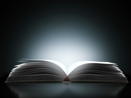 open book with magic light  isolated on a black background. 3d render