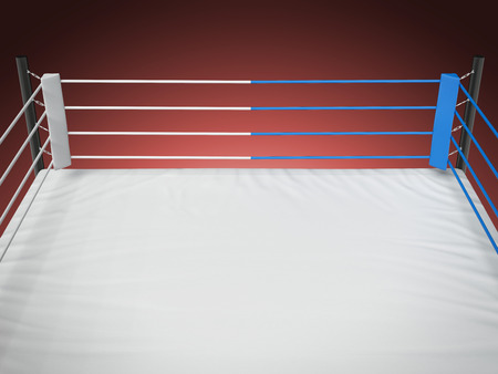 Boxing ring  solated on a red background. 3d render