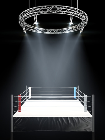 Boxing ring in dark isolated on a black background. 3d render