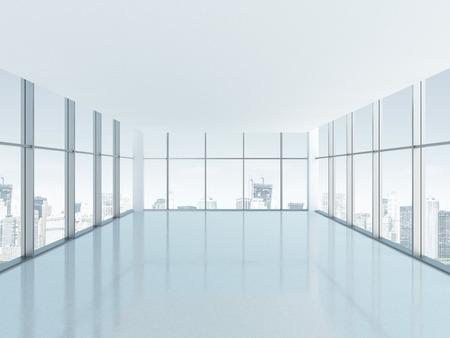 Empty room with big panoramic window