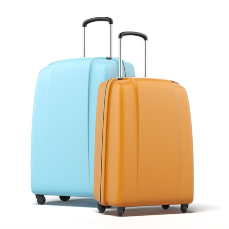 Two large polycarbonate suitcases