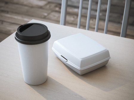 White lunch box with blank paper cup of coffee. 3d rendering