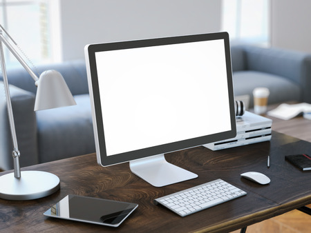 Workplace with computer and blank screen on the table. 3d rendering