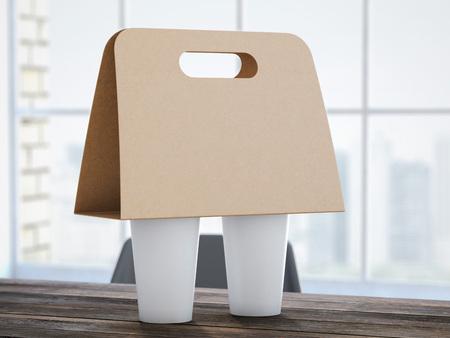 Foto de Cardboard Coffee Holder on the office table. 3d rendering - Imagen libre de derechos