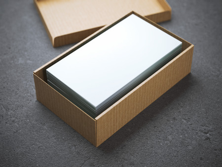 Stack of business cards in cardboard package