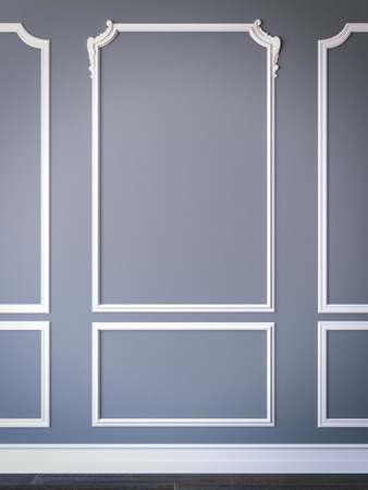 Photo for Simple classic style interior with blue walls. 3d rendering - Royalty Free Image