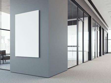 Photo for Empty white poster on the office gray wall. 3d rendering - Royalty Free Image
