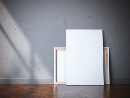 Photo pour Two white canvases on the wooden floor in modern interior. 3d rendering - image libre de droit