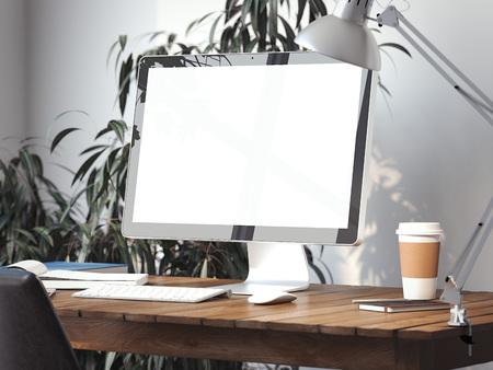 Foto de Workspace with blank screen on a table. 3d rendering - Imagen libre de derechos