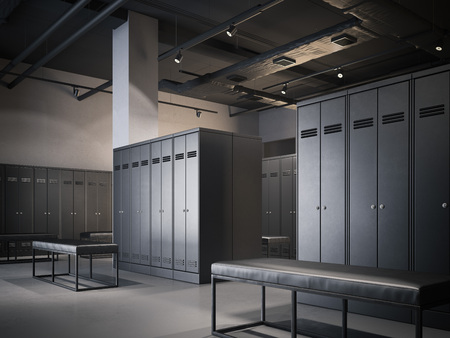 Modern locker room in loft interior with black cabinets. 3d rendering