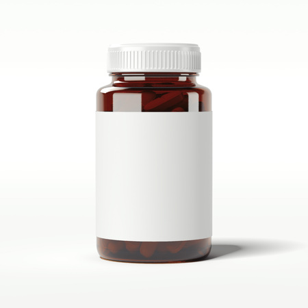 Brown bottle with pills. 3d rendering