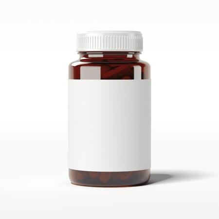 Photo pour Brown bottle with pills. 3d rendering - image libre de droit