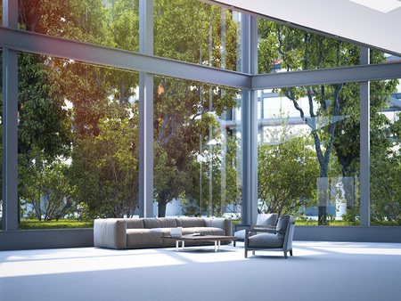 Photo pour Modern office waiting area. 3d rendering - image libre de droit
