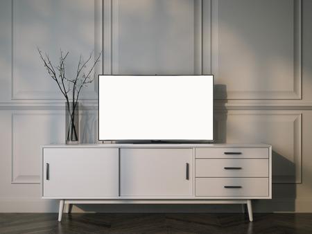 Foto de White tv stand with flat LCD television. 3d rendering - Imagen libre de derechos