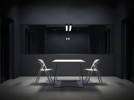 Foto de Dark room for interrogation. 3d rendering - Imagen libre de derechos