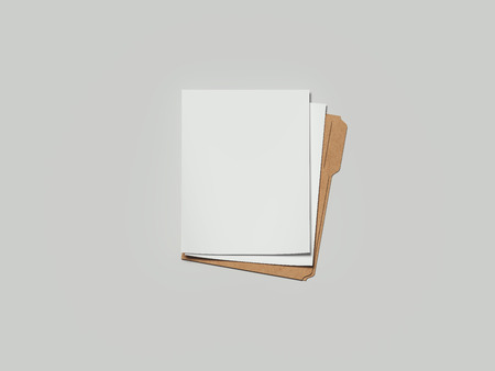 Foto de Cardboard folder with paper, 3d rendering - Imagen libre de derechos