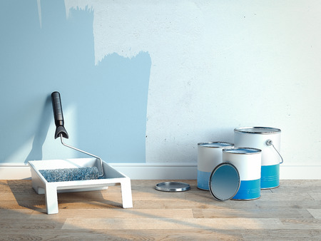Photo pour Paint cans near light blue walls, 2 cans are opened, 1 is closed, 3d rendering - image libre de droit