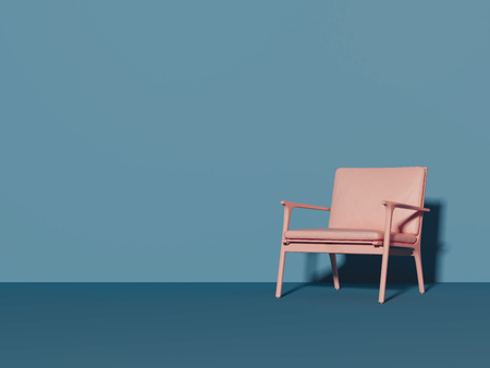 Photo for Pink chair next to light blue wall, 3d rendering - Royalty Free Image