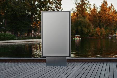 Blank canvas banner stand at park. Empty billboard advertising. 3d rendering.