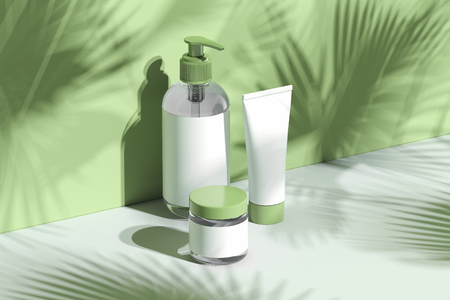 Photo pour Cosmetic Bottle Set for cream, lotion. Blank plastic containers. 3d rendering. - image libre de droit