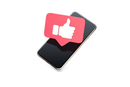 Photo pour Thumb up like red symbol on mobile phone screen. 3d rendering. - image libre de droit