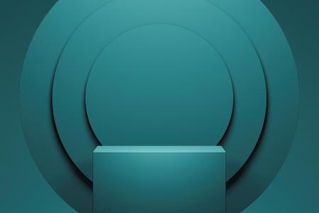 Foto de Showcase with empty space pedestal on blue circle background. 3d rendering. - Imagen libre de derechos