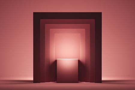 Foto de Showcase with empty space on pedestal on pink square background. 3d rendering. - Imagen libre de derechos