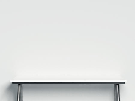 Foto de White table as Modern Showcase with empty space on pedestal. 3d rendering. - Imagen libre de derechos