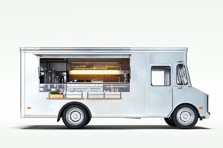 Foto de White realistic food truck isolated on white. 3d rendering. - Imagen libre de derechos