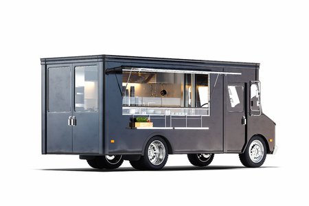 Photo pour Black realistic food truck isolated on white. 3d rendering. - image libre de droit