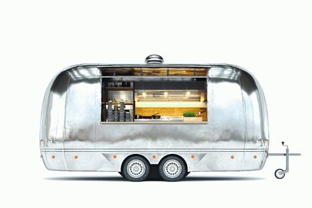 Foto de Silver food trailer with detailed interior isolated on white. 3d rendering. - Imagen libre de derechos