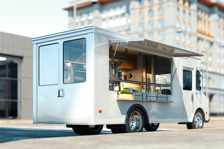 Photo pour White food truck with detailed interior on street. Takeaway. 3d rendering. - image libre de droit