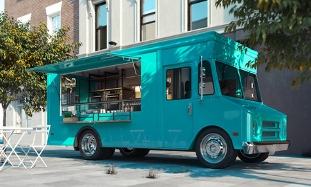 Photo pour Aquamarine food truck with detailed interior on street. Takeaway. 3d rendering. - image libre de droit
