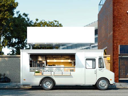 Photo pour White food truck with detailed interior. Takeaway food and drinks. 3d rendering. - image libre de droit