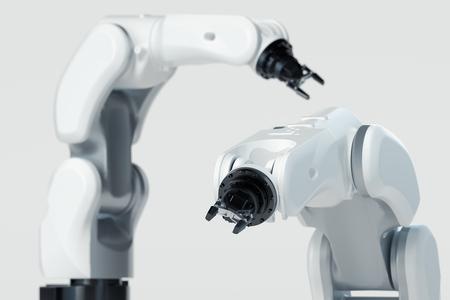 Foto de Robotic arm on white background. Mechanical hand manipulator. 3d rendering. - Imagen libre de derechos