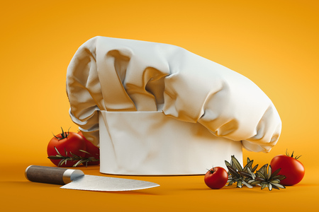 Photo pour White cook hat or toque isolated on yellow background. 3d rendering. - image libre de droit