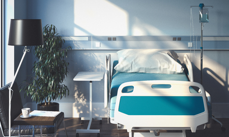 Foto de Recovery Room with bed and medical equipment n hospital. 3d rendering. - Imagen libre de derechos