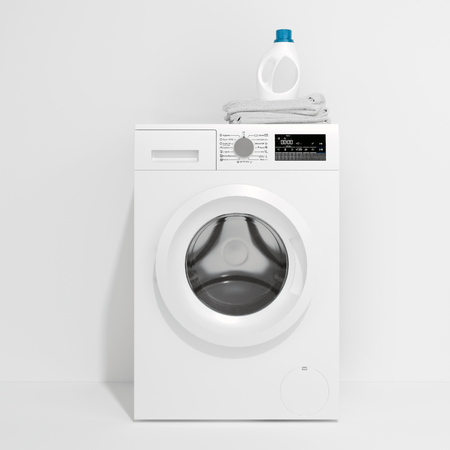 Photo pour Realistic white washing machine and laundry detergent isolated on white background. 3d rendering. - image libre de droit