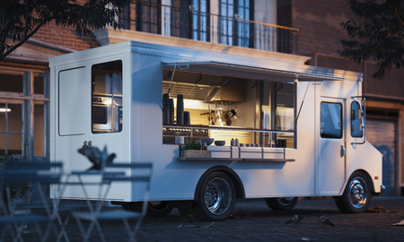 Photo pour Food truck with detailed interior on street. Takeaway food. 3d rendering - image libre de droit