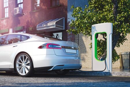 Photo for Electric white modern car near Electric car charging station at street. 3d rendering - Royalty Free Image