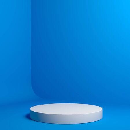 Photo pour Modern Showcase with empty space on pedestal on blue background. 3d rendering. - image libre de droit