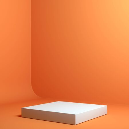Foto de Modern Showcase with empty space on pedestal on orange background. 3d rendering. - Imagen libre de derechos