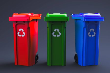 Foto de Trash  isolated on black background. 3d rendering - Imagen libre de derechos