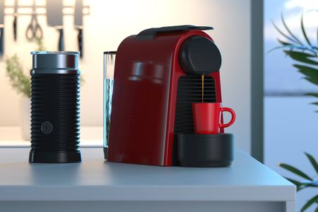 Photo pour Espresso coffee capsules machine in process of making fresh coffee in bright modern cozy kitchen. 3d rendering. - image libre de droit