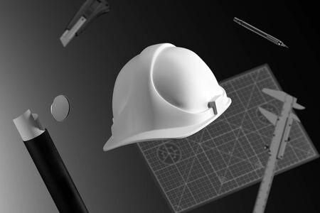 Photo pour White Construction Helmet, Calliper, Drawing tube, Cutter Knife, Pencil And Cutting Mat. 3d Rendering - image libre de droit